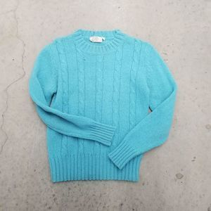 Blue teal vtg wool sweater s small Snow Winter